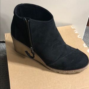 Tons Avery black microfiber wedge booties
